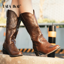 LALA IKAI Women Med Square Heels Stretch Shoes 2019 American Mid-boots Winter Boots Female Pointed Toe PU Leather WC5010-4