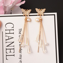 S925 Silver Needle New Crystal Butterfly Earrings Super Fairy Temperament Long Section Tassel Dangle Female