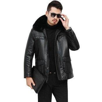 AKSR 2020 New Men's Leather Jacket Thick Plush Casual Plus Size Warm Winter Faux PU Leather Fur Coat Men Fur Collar Zipper