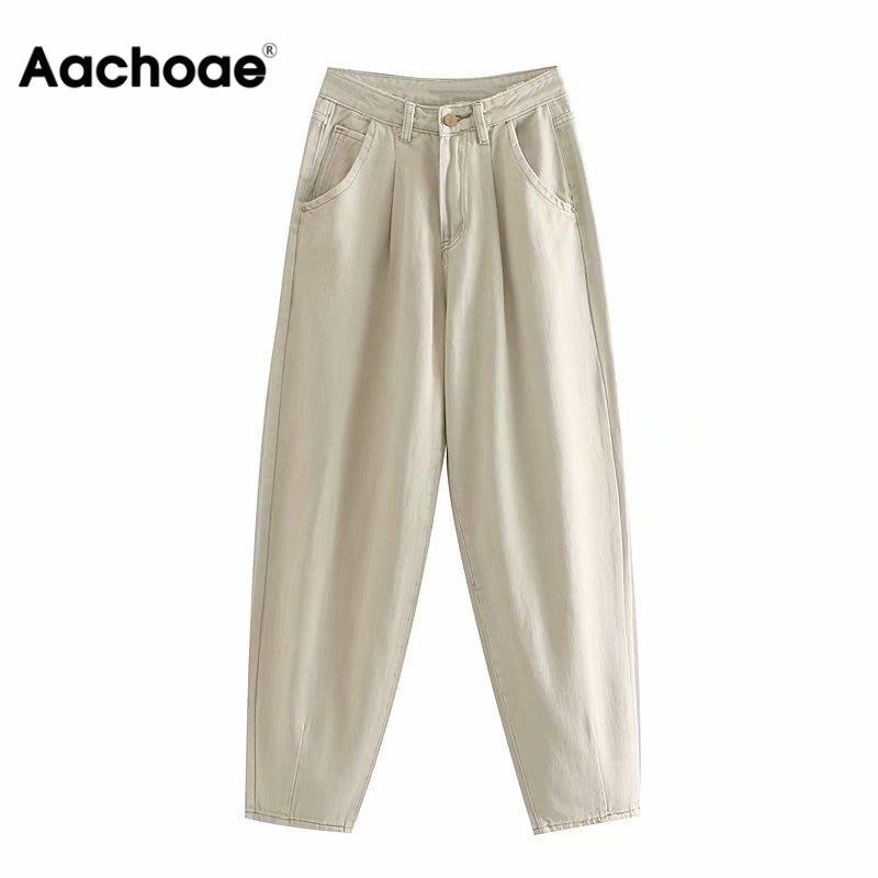 Aachoae Women Loose Mom Jeans Long Khaki Pants Streetwear Washed Pockets Cowboy Pants Casual Ladies Denim Pants Trousers Bottoms