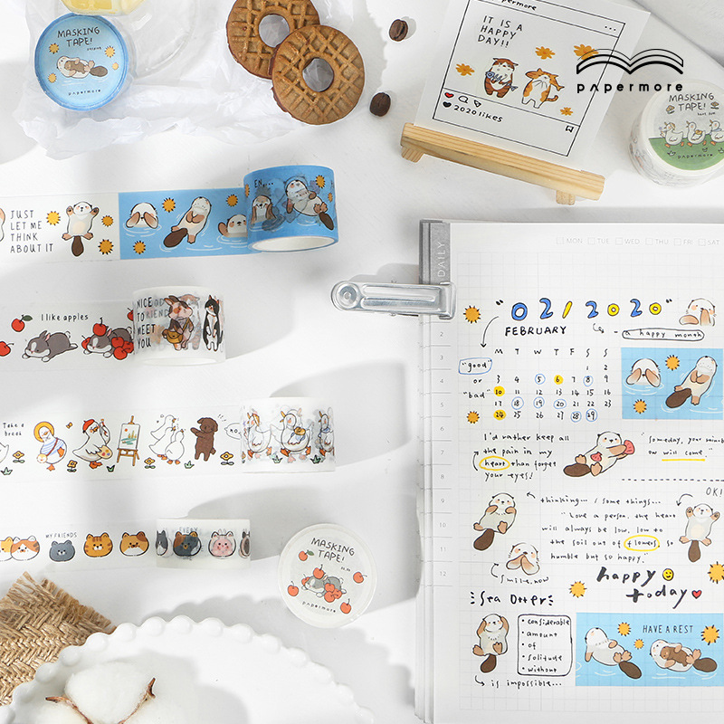 Have Fun Series Journal Washi Masking Tape Decorative Fun Cartoon Animal Adhesive Tape DIY Scrapbooking Sticker Label Stationery