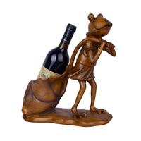 Imitation Wooden Frog Dragging Lotus Leaves Figurines Home Decor Handicranfts Wine Rack Wine Holder Resin Ornaments Desk Decor