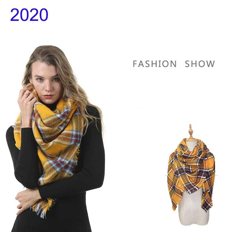 Women's Winter Soft Plaid Tartan Checked Scarf Large Blanket Wrap Shawl 140*140cm Oversized Plaid Blanket Scarf Designer Scarves
