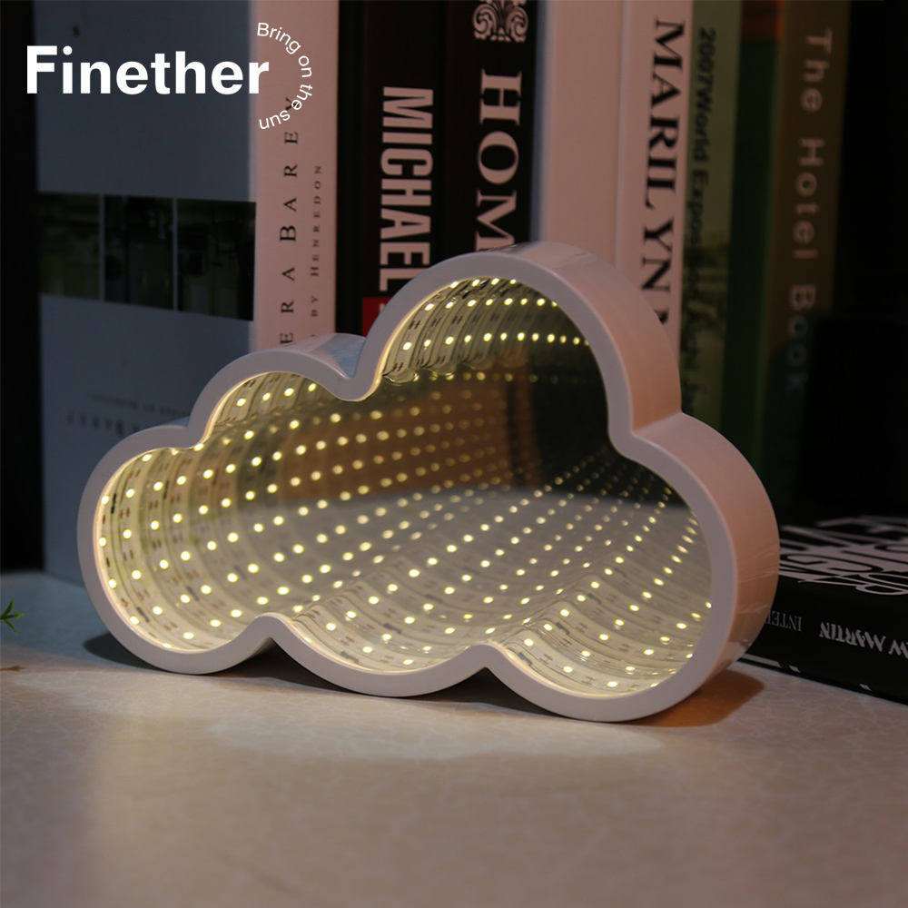 New 3D Creative Cloud Stars Cute Heart Night Light Led Decor Lamp Novelty Mirror For Kids Baby Good Gift Decoration