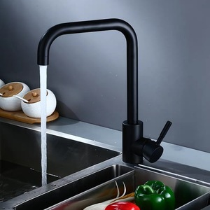 Image 2 - Sink Faucets Kitchen Hot Cold Mixer Tap Stainless Steel Black Faucet Single Hole Rotatable Deck Mounted Modern Taps Keukenkraan