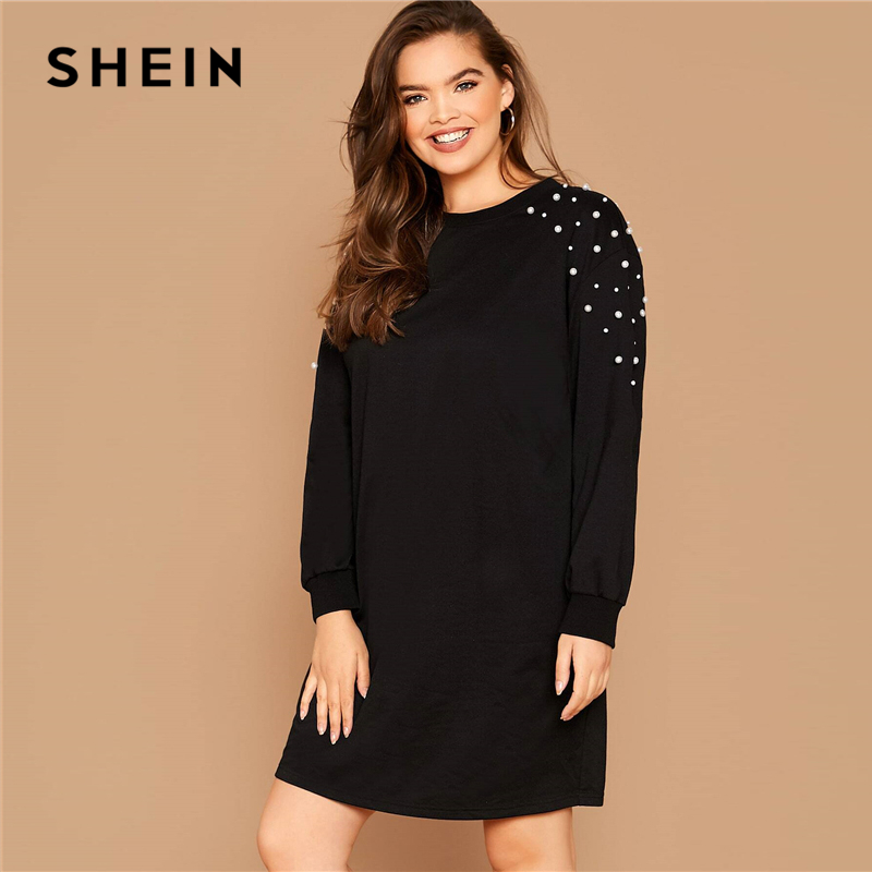 SHEIN Plus Size Black Pearl Beaded Sweatshirt Casual Dress Women Spring Autumn Round Neck Plus Solid Loose Short Dresses