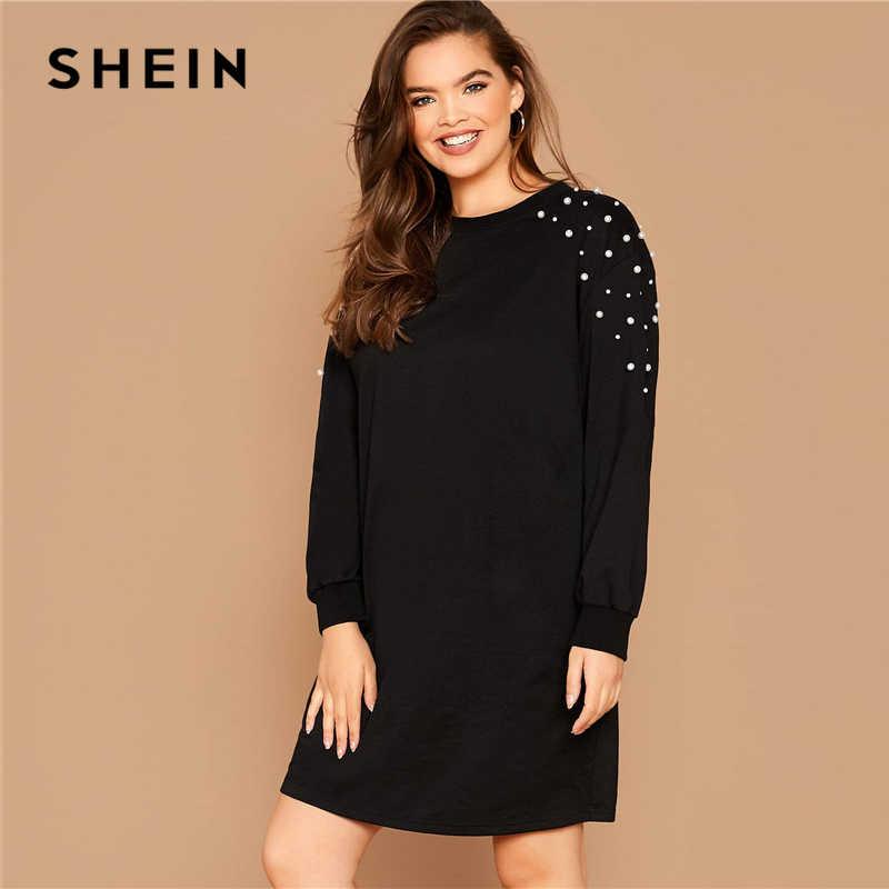 SHEIN artı boyutu siyah inci boncuklu kazak rahat elbise kadın İlkbahar sonbahar yuvarlak boyun artı katı gevşek kısa elbiseler