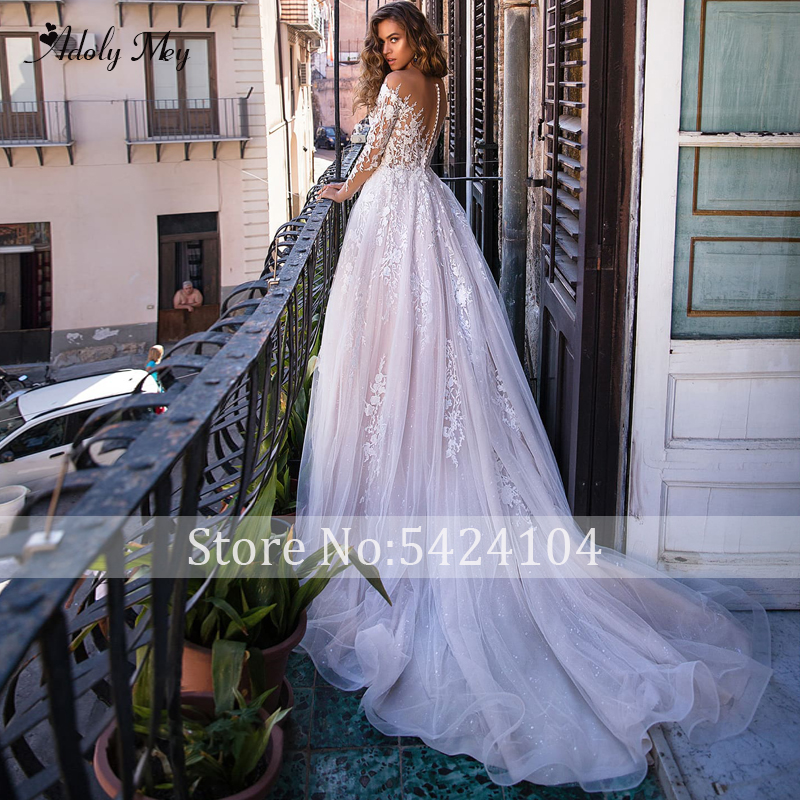 Image 2 - Adoly Mey New Charming Scoop Neck Button A Line Wedding Dresses 2020 Luxury Appliques Long Sleeve Vintage Bridal Gown Plus SizeWedding Dresses   -