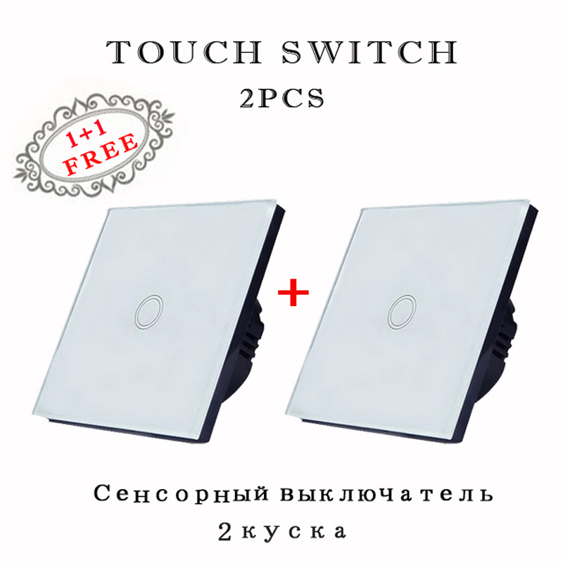 EU/UK Standard  Wall Switch, Light Touch Switch white crystal 1 way glass panel AC110V 220V Wall Touch screen
