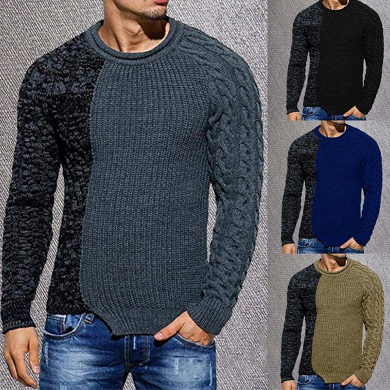 Autumn Mens Sweater Casual Patchwork O-neck Wool Sweaters Large Size Warm Men Jumper 2019 Winter Knitted Irregular Male Knitwear