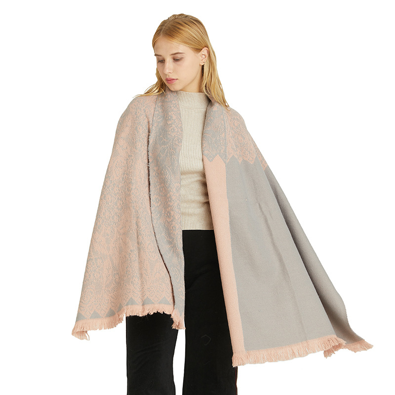 winter scarf women 2020 new, double-sided lace thickened warm shawl, fashion solid color high-end scarf wholesale, палантин