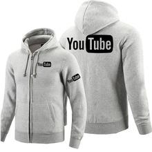 Winter autumn long sleeved zipper hoodies Youtube zipper sweatshirt clothes man solid coat tops jackets