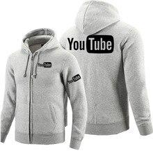 חורף סתיו ארוך שרוולים רוכסן נים Youtube רוכסן סווטשירט בגדי גבר מוצק מעיל חולצות מעילים