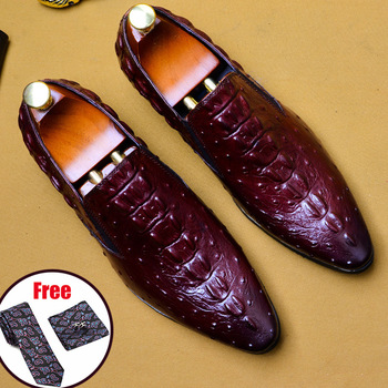 Phenkang mens leather shoes genuine leather oxford shoes for men luxury dress shoes slipon wedding shoes leather brogues