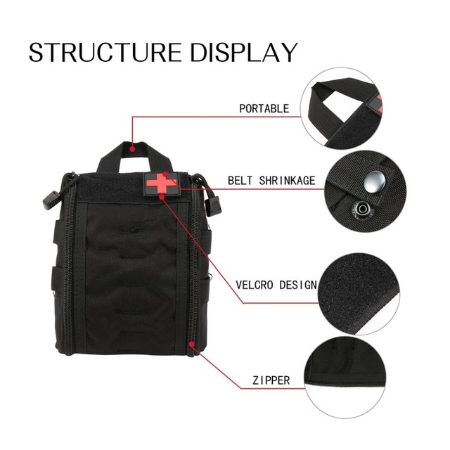 Outdoor Portable First Aid Bag Tactical Medical Storage Bag Multifunctional Waist Pack Pouch Camping Emergency Organizer Bag 4