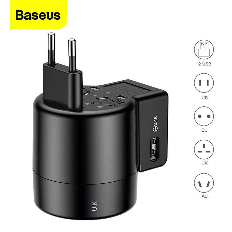 BASEUS International Travel ADAPTER Whirl Universal Travel Wall Charger ปลั๊ก USB AC Power Adapter Converter สำหรับ EU US UK AU