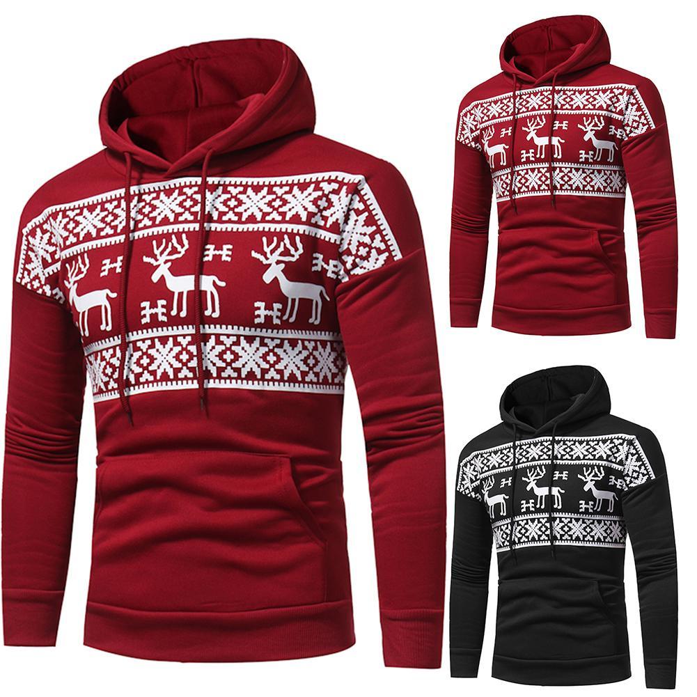 Casual Men Autumn Christmas Reindeer Print Pocket Plus Size Pullover HoodieSnowflower Winter Sweater Men Sweater Men's Elk Hood