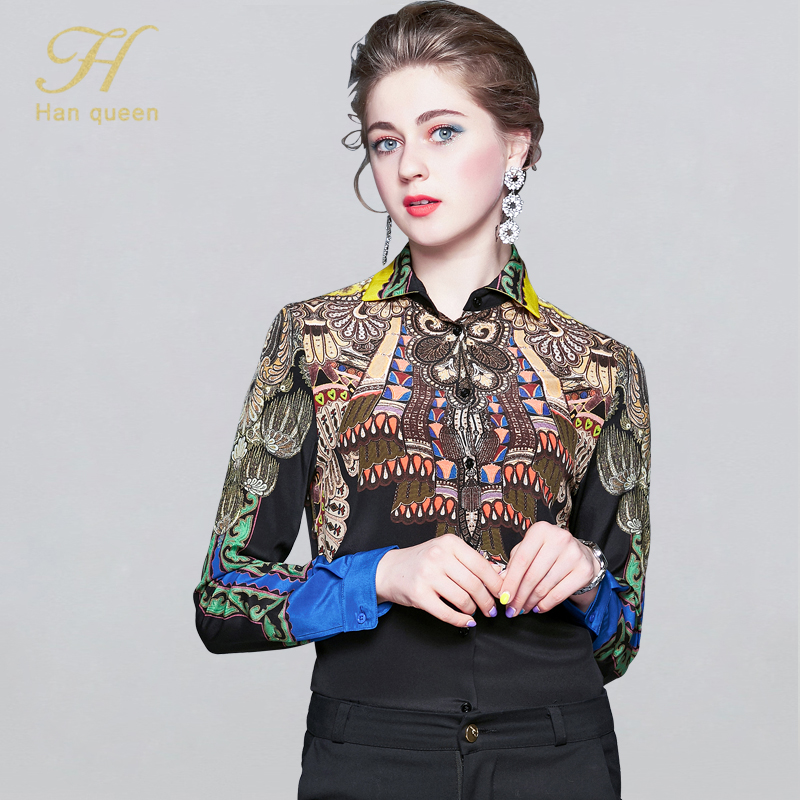 H Han Queen 2020 Spring Women's Blouses Loose Long Sleeve Chiffon Blouse Casual Tops Vintage Print Shirt Women Clothing Blusas