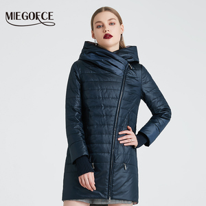 Image 3 - MIEGOFCE 2020 Spring Autumn Jacket With Oblique Cut Bright Womens Jacket Thin Cotton Coat Windproof Warm Knitted Sleeve Jacket