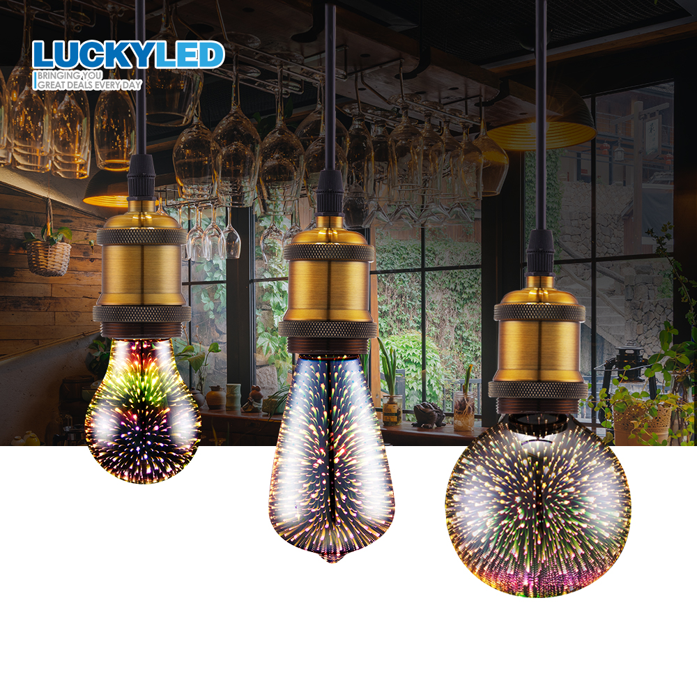 LUCKYLED Led Bulb E27 220v 110V 3D Firework Decoration Led Lamp A60 ST64 G80 G95 G125 Holiday Light Bulbs Wedding Party Ampoule