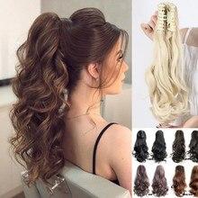 LISI аксессуары для волос для девушек для женщин кудрявые коричневые когти Омбре конский хвост синтетические волосы на заколке наращивание в...