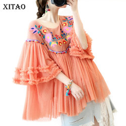 XITAO National Style Embroidery Shirt Women Clothes 2020 Spring New Patchwork Pleated Pullover Flare Sleeve Blouse ZLL4905