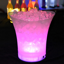 Светодиодный 5л водонепроницаемый пластиковый ведерко для льда 6 цветов Бар ночной клуб светодиодный светильник шампанское пивное ведерко бары Ночные вечерние ведерко для льда