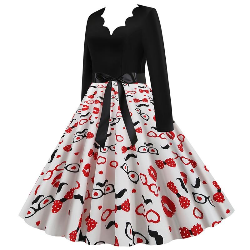 Women Long Sleeve Winter Vintage Dresses Sexy Black Music Note Print V-neck Rockabilly Pin up Party Dress Vestidos Plus size 620