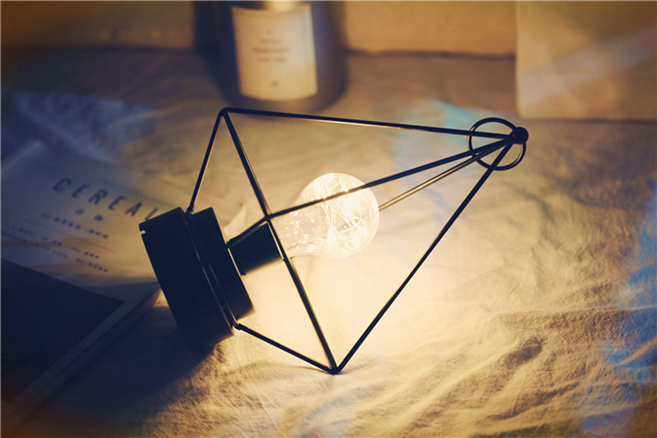 3d lâmpada ferro forjado do vintage alimentado por bateria