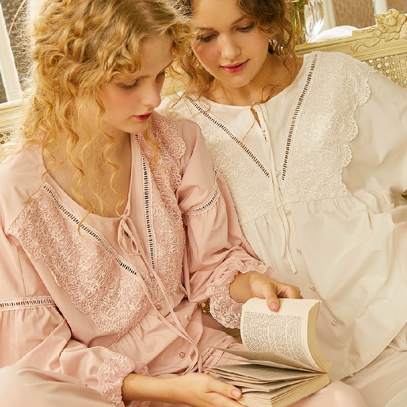 Fashion White Soft Cotton Women's Long Sleeve Pajamas Sets Pink/White Lace Vintage Sleepwear Sweet Nightsuits Home Wear
