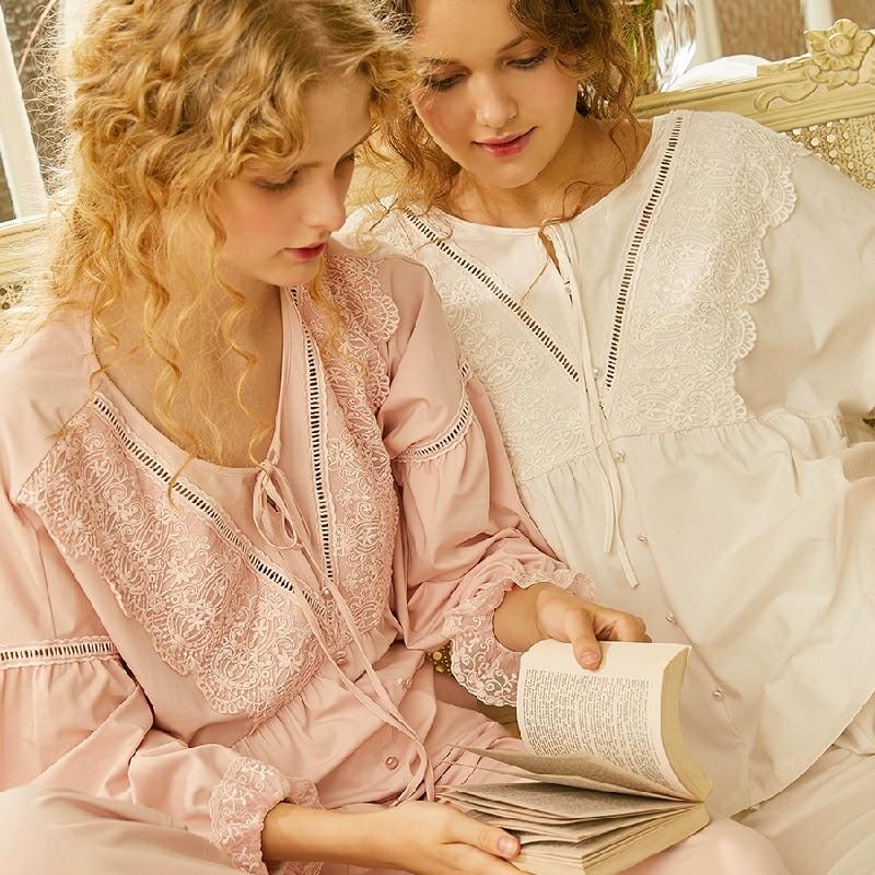 Fashion White Soft Cotton Women's Long Sleeve   Pajamas     Sets   Pink/White Lace Vintage Sleepwear Sweet Nightsuits Home Wear