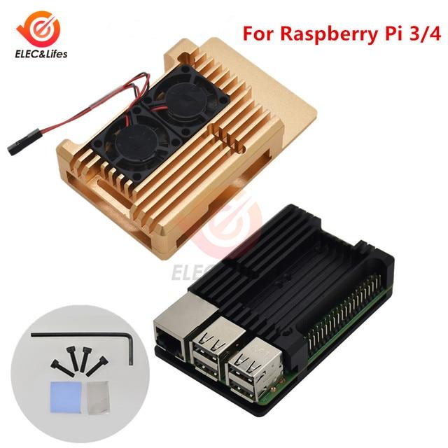 Siyah CNC alüminyum alaşım kılıf kabuk için ahududu Pi 4 3 Model B/B + kılıf kutusu ile çift soğutma fanı ısı emici radyatör altın/kırmızı