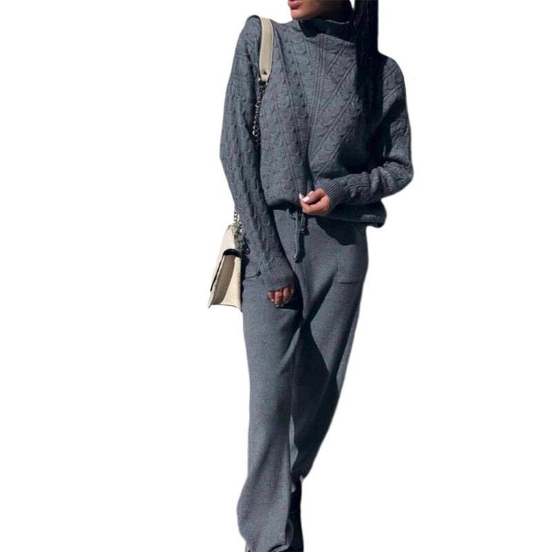 Femme Costumes laine chaud tricoté ensembles col roulé torsion pull + pantalon deux pièces ensemble femme 2019 hiver costume femme Sport Costumes