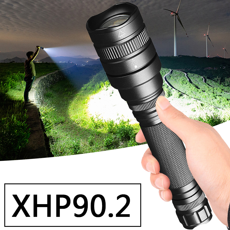 XHP90.2 Chip Powerful LED Tactical Flashlight Waterproof Torch Zoom XHP70 Lantern Bulbs 2 Pcs 18650 Battery Litwod Adjustable