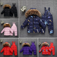 Kids Winter Down Clothing Set 2pcs Coat + Overalls Baby Girls & Boys Warm Down Jacket Children Down Suits For Girls 1 5 Years