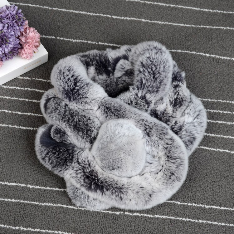 Adisputent Rabbit Fur Scarf For Women Winter  Brand Luxury Knitted Female Real Fur Scarf  Collar Warm Neck Color Pompoms 20019