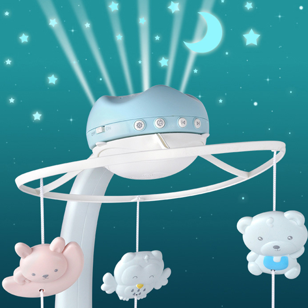Baby Musical Crib Mobile Starry Sky Projector Night Lights Rotating Rattles Remote Control Education Music Box Toy For Newborn