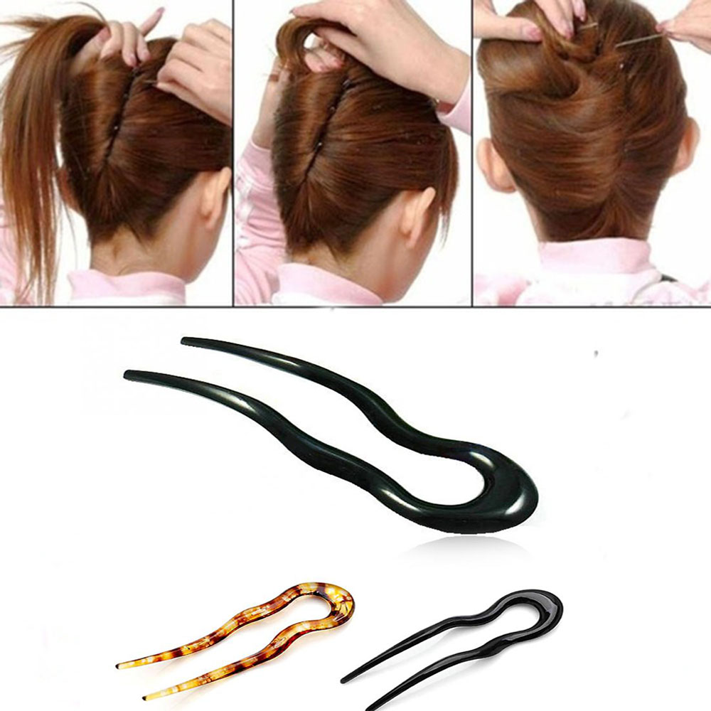 New U Shape Hair Clips Grips Convenient Simple Plastic Forks Styling Tool Hairpins Newly Magic Bending Hairwear Decoration