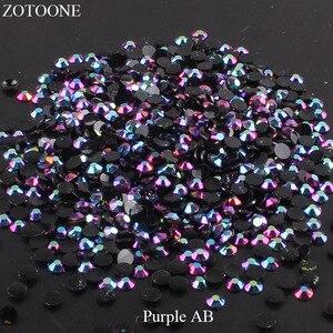 ZOTOONE FlatBack Non HotFix Resin Nail Art Black AB Rhinestones Strass Crystal Applique Glue On Stones For Clothes Decoration E