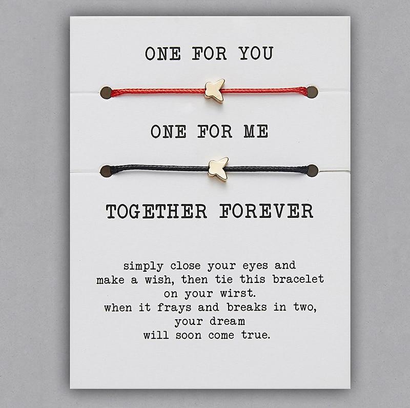 2 шт./компл. Сердце Звезда браслеты с крестообразной подвеской один для вас один для меня красная веревка плетение пара браслет для мужчин женщин карточка пожеланий - Окраска металла: BR18Y0715-1
