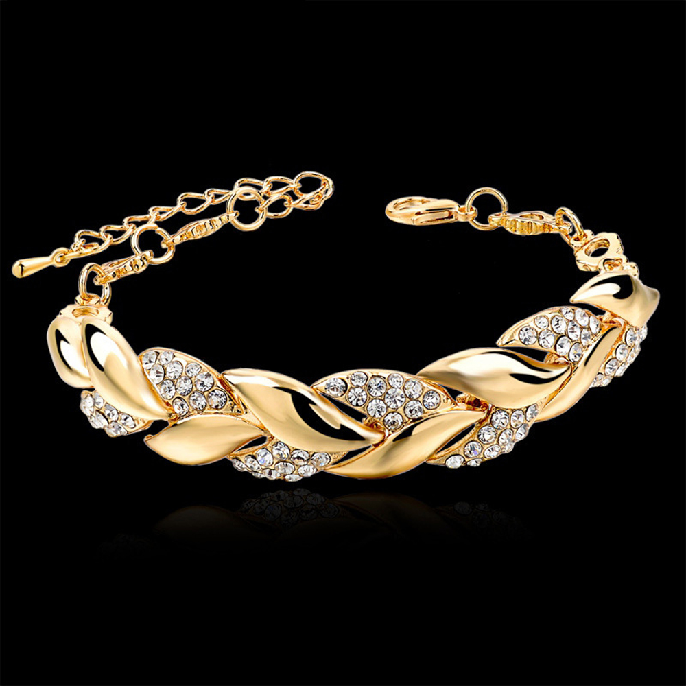 Bohemian Style Women Girls Gold Bracelet Rhinestone Leaves Chain Bangle Luxury Wedding Jewelry Simple Fashion Elegant New(China)