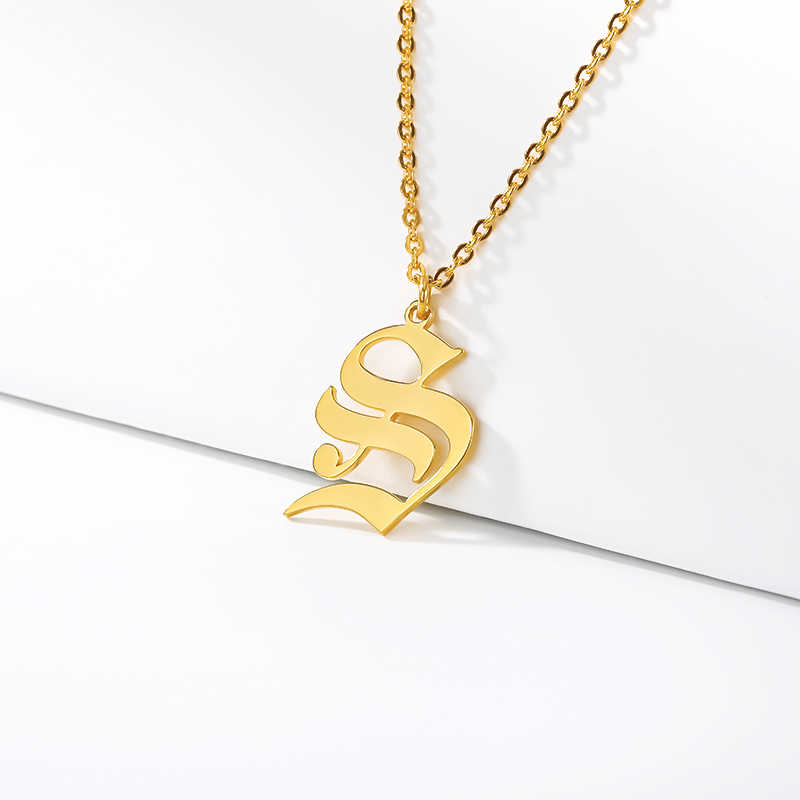 Women Choker Old English Initial Necklace Personalized Capital Alphabet Letter Pendant Necklaces Stainless Steel Gothic Jewelry
