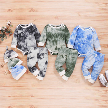 Toddler Kid Baby Boys Girls Clothes Tie-dye Print Casual Ribbed Knitted Long Sleeve Rompers Pants Hats Set Outfits Kids Clothing цена 2017