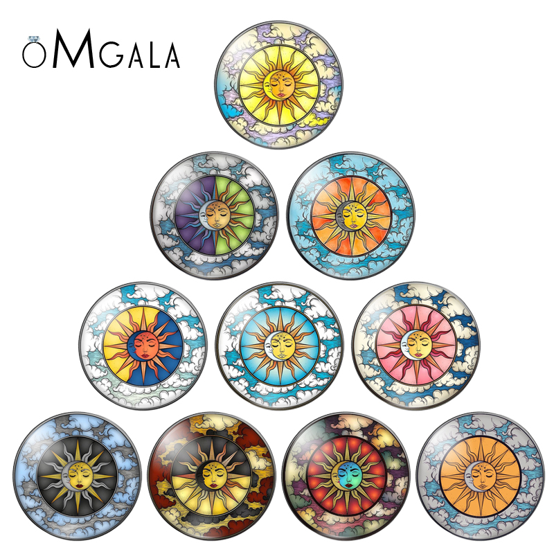 New Sun and Moon God 10pcs mixed 12mm/18mm/20mm/25mm Round photo demo glass cabochon flat back Making findings