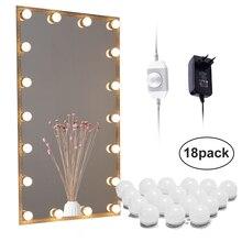 LEDกระจกไฟHollywoodไฟแต่งหน้าVanity 10/18 หลอดไฟสำหรับห้องน้ำ,ผนัง,dresserหรี่แสงได้พร้อมปลั๊กLinkable