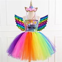 Unicorn Dress Halloween-Costume Party-Clothing Rainbow Cosplay Kids for Carnival-Performance