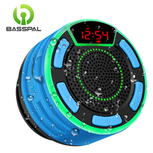 BassPal F013 Pro TWS Bluetooth Speakers IPX7 Waterproof Portable Wireless Shower Speaker with LED Display FM Radio Suction Cup