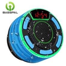 BassPal F013 프로 TWS 블루투스 스피커 IPX7 방수 휴대용 무선 샤워 스피커 LED 디스플레이 FM 라디오 흡입 컵