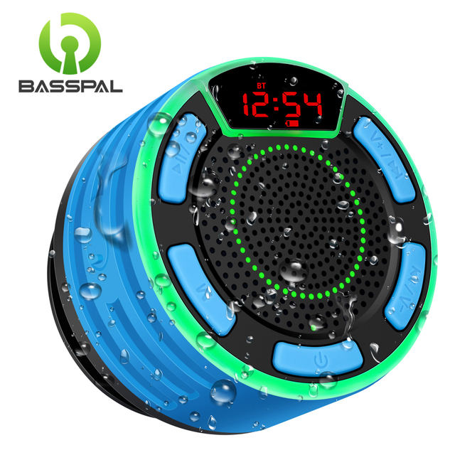 BassPal altavoz inalámbrico F013 Pro TWS con Bluetooth, a prueba de agua IPX7, portátil, con pantalla LED, Radio FM y ventosa