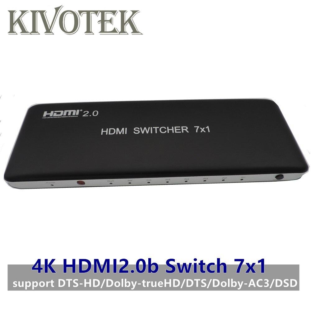 4K 3D 7x1 HDMI commutateur adaptateur, 7 à 1 Hdmi2.0b commutateur RC contrôleur hdmi connecteur femelle pour lecteur HD, PS3 STB PC DVD